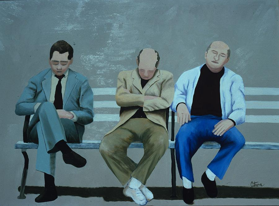 Men Sleeping On A Park Bench Painting By Merle Citron Artist