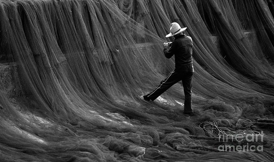 Mending His Nets Photograph