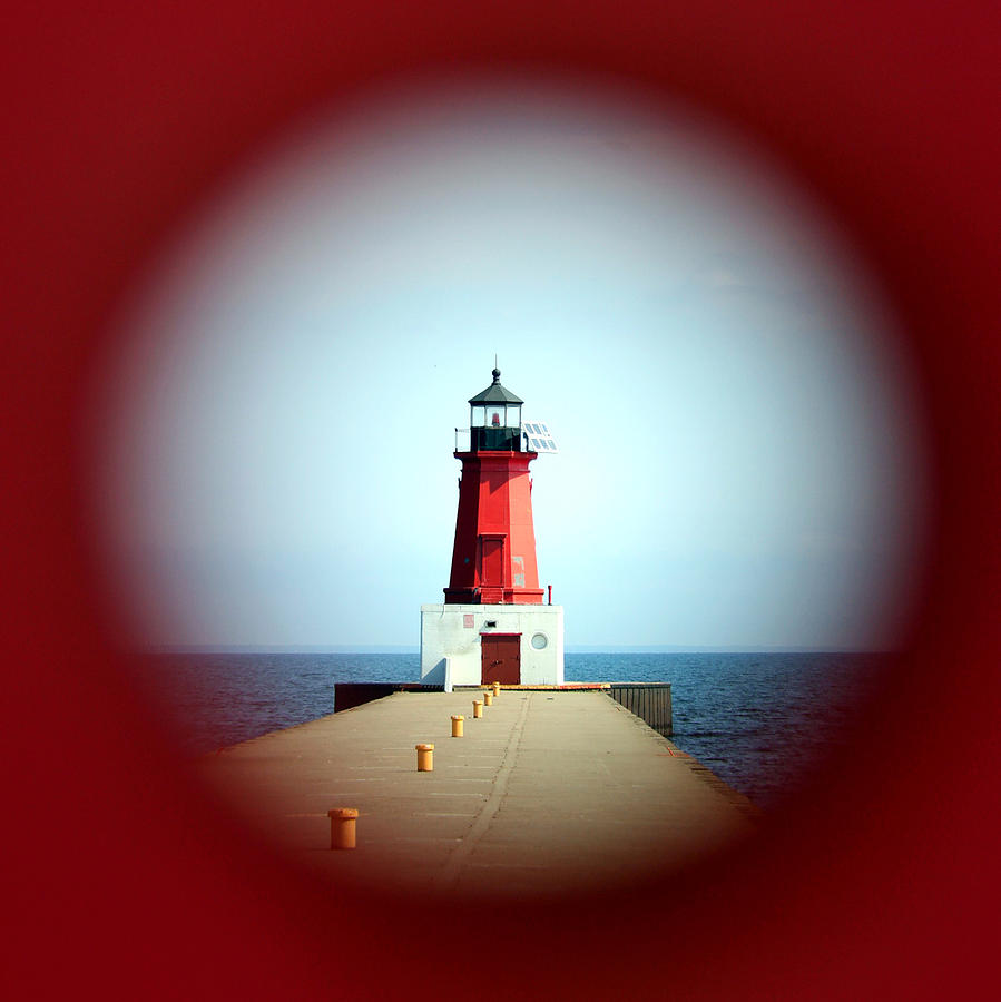 Menominee Lighthouse Through A Rivet Hole Photograph  - Menominee Lighthouse Through A Rivet Hole Fine Art Print
