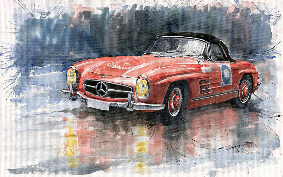 Mercedes Benz 300sl Painting  - Mercedes Benz 300sl Fine Art Print
