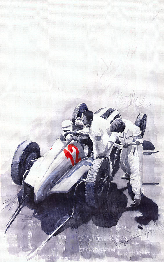 Mercedes Benz W125 Rudolf Caracciola The German Grand Prix Nurburgring 1937  Painting  - Mercedes Benz W125 Rudolf Caracciola The German Grand Prix Nurburgring 1937  Fine Art Print
