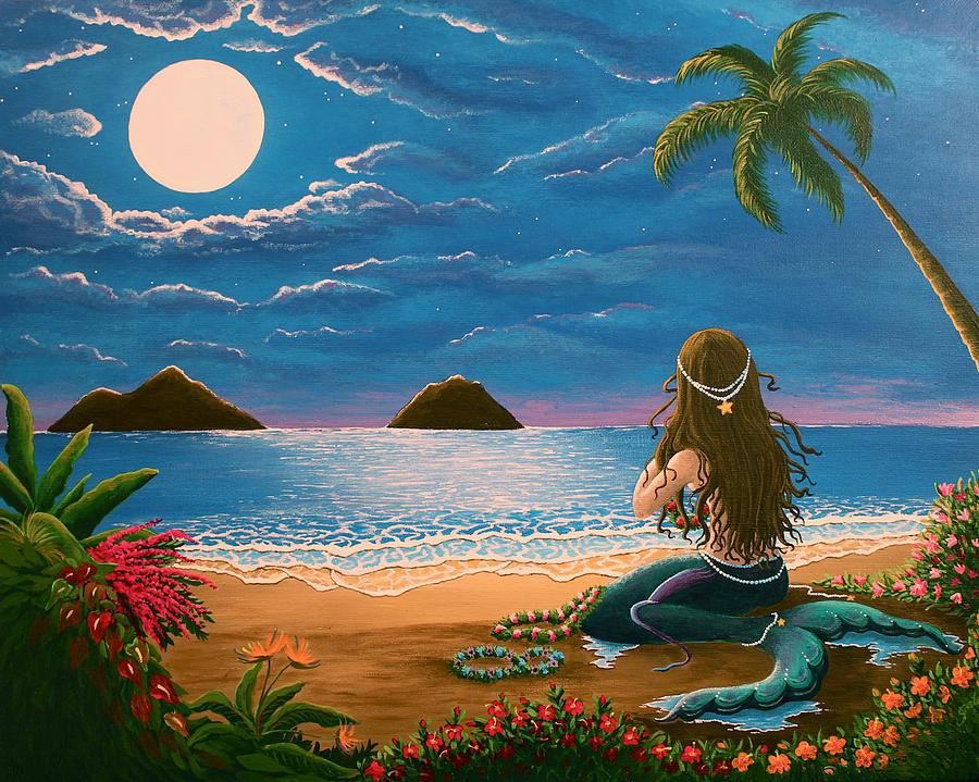 Mermaid Making Leis Painting