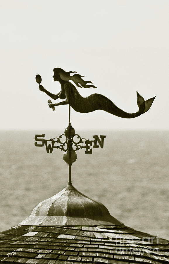 Mermaid Weathervane In Sepia Photograph  - Mermaid Weathervane In Sepia Fine Art Print