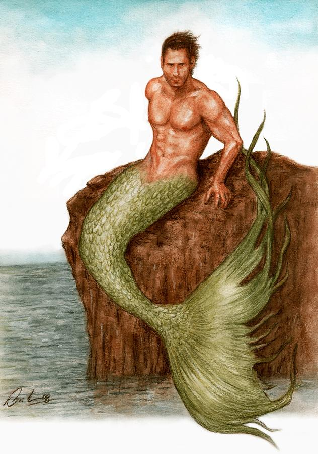 Merman On The Rocks Painting  - Merman On The Rocks Fine Art Print