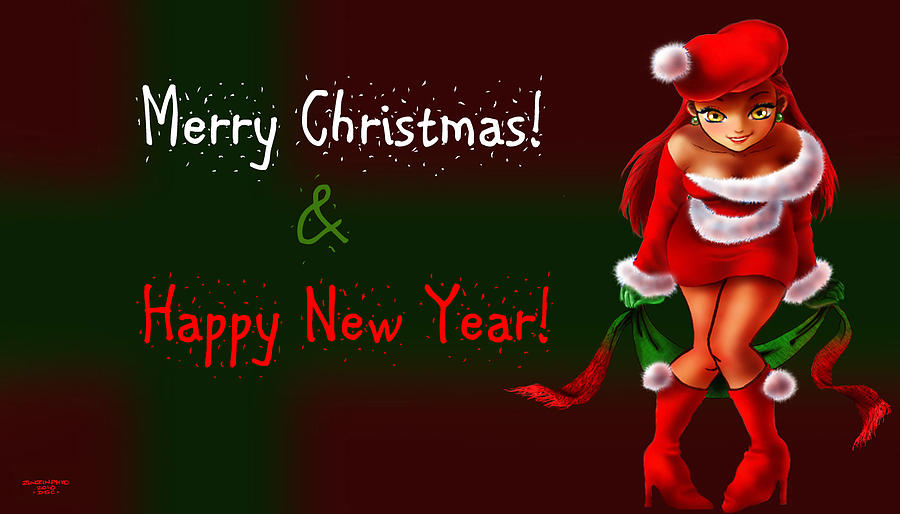Merry christmas and happy new year digital art