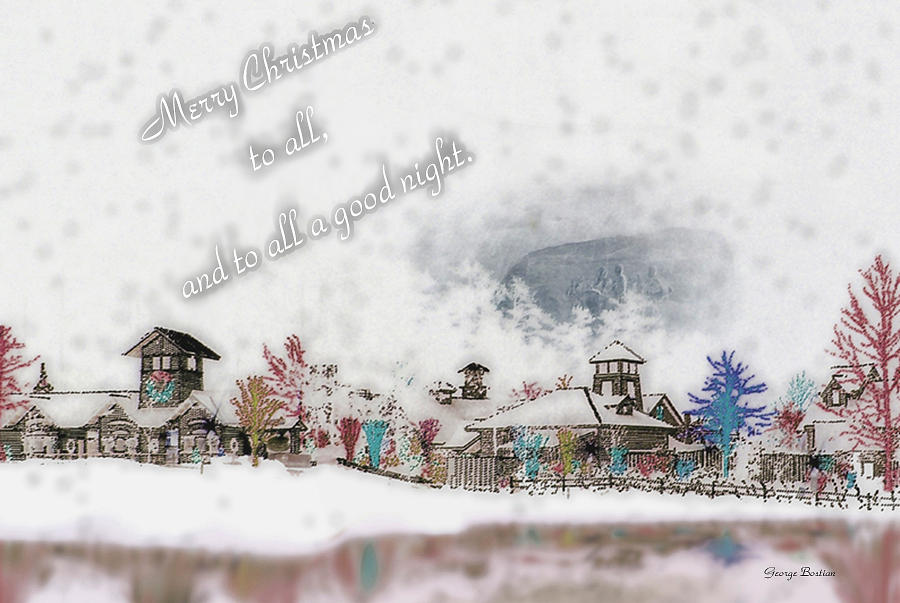 Merry Christmas - Stone Mountain Snowfall Art 4x6  Photograph