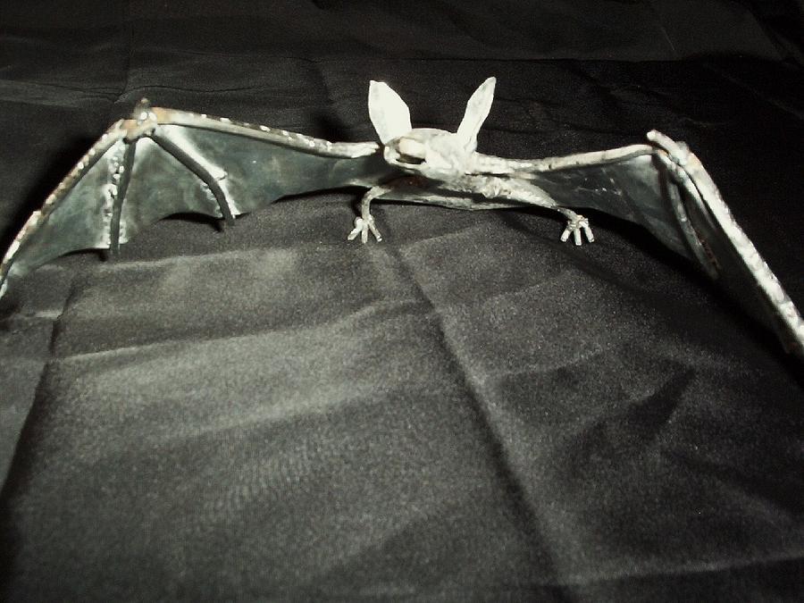 Metal Bat Sculpture