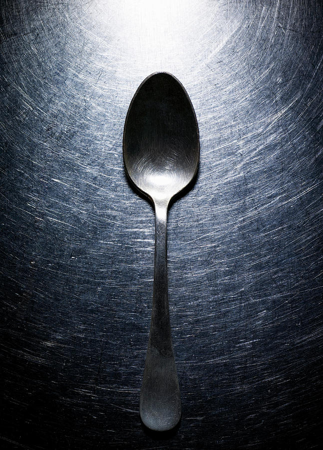 Metal Spoon On Stainless Steel. Photograph  - Metal Spoon On Stainless Steel. Fine Art Print