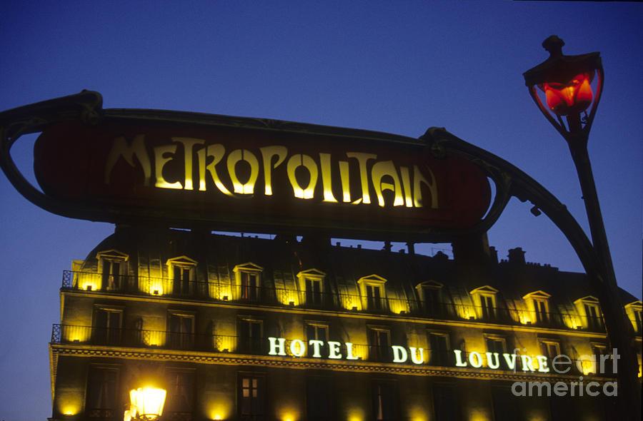 Europe Photograph - Metro Sign. Paris. France by Bernard Jaubert