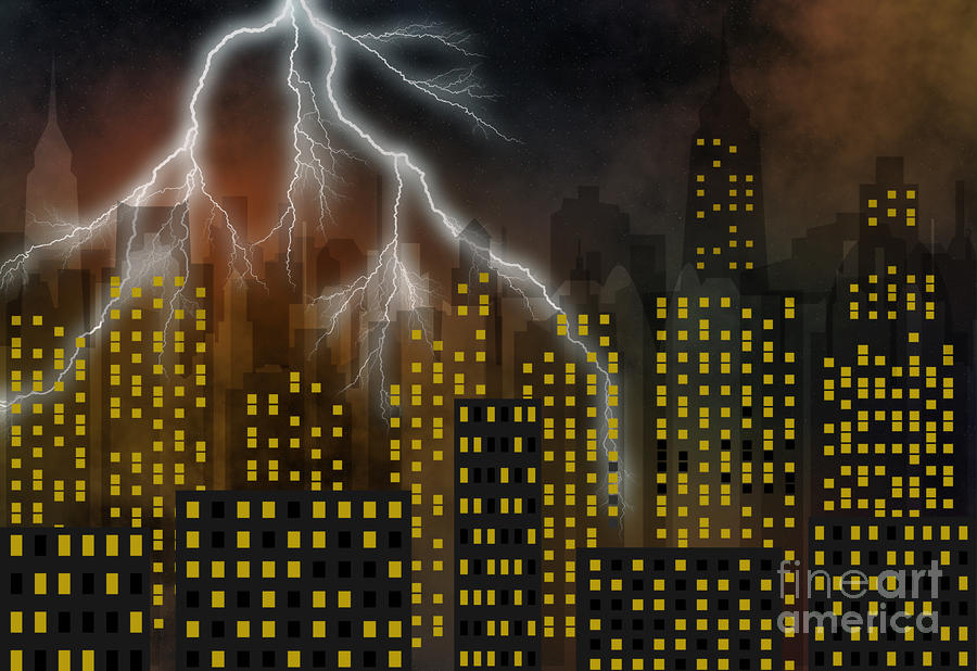 Metropolis At Stormy Night Digital Art  - Metropolis At Stormy Night Fine Art Print