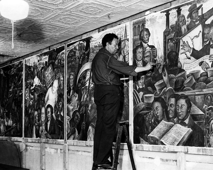 Mexican painter diego rivera painting photograph by everett for Diego rivera mural new york