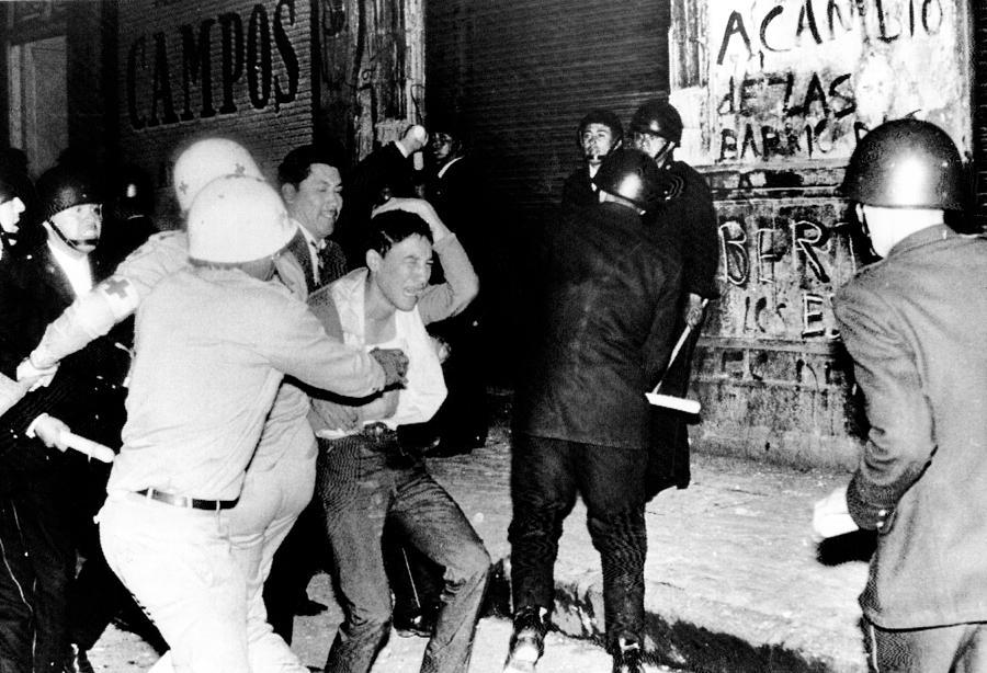 Mexico City  Riot Police Battle Photograph