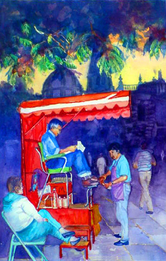 Mexico  Shoe Shiner  Zapatero Painting  - Mexico  Shoe Shiner  Zapatero Fine Art Print