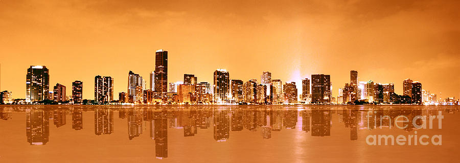 Miami Golden Panoramic Painting  - Miami Golden Panoramic Fine Art Print