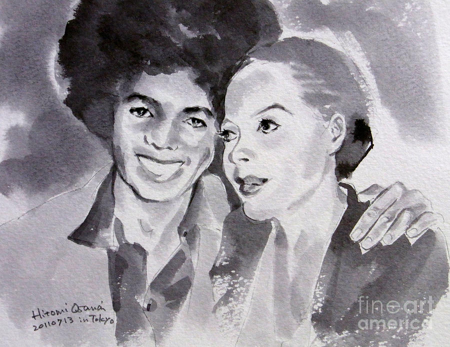 Michael Jackson Painting - Michael Jackson - Wtih Diana by Hitomi Osanai