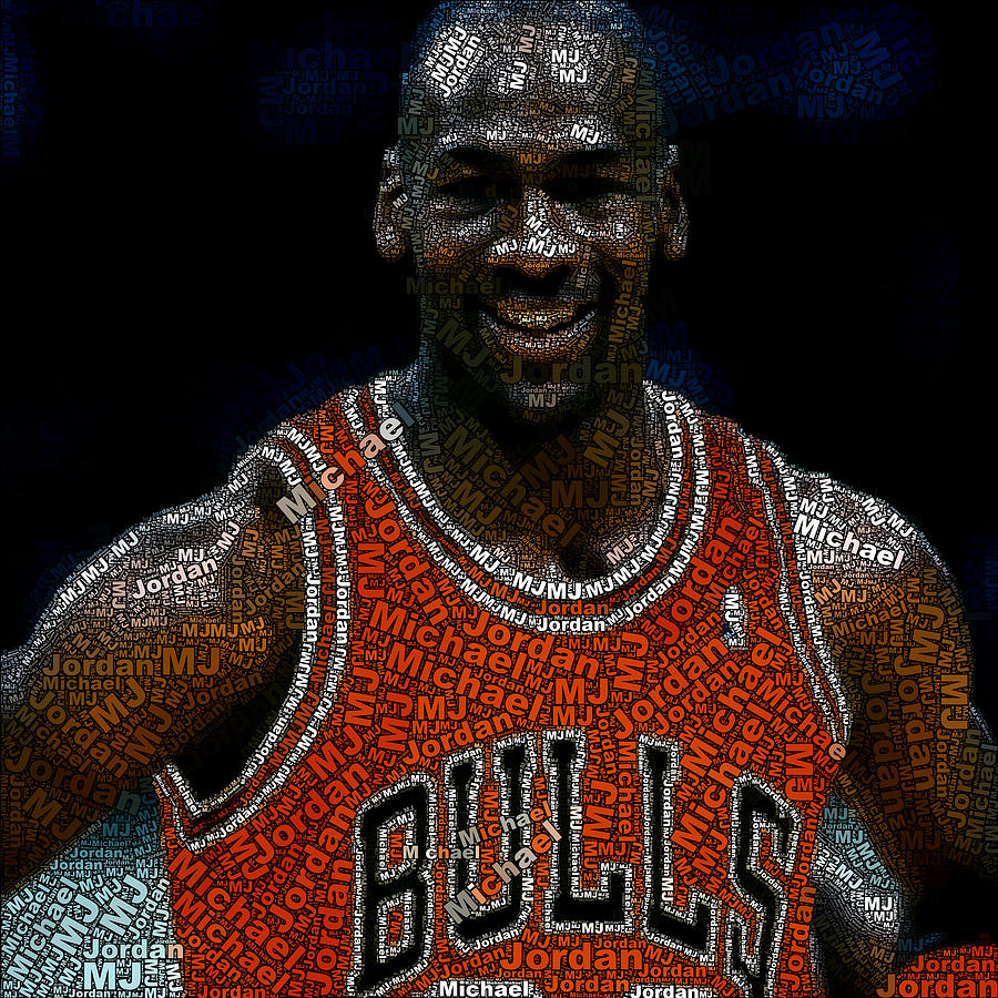 Michael Jordan Word Mosaic Digital Art  - Michael Jordan Word Mosaic Fine Art Print