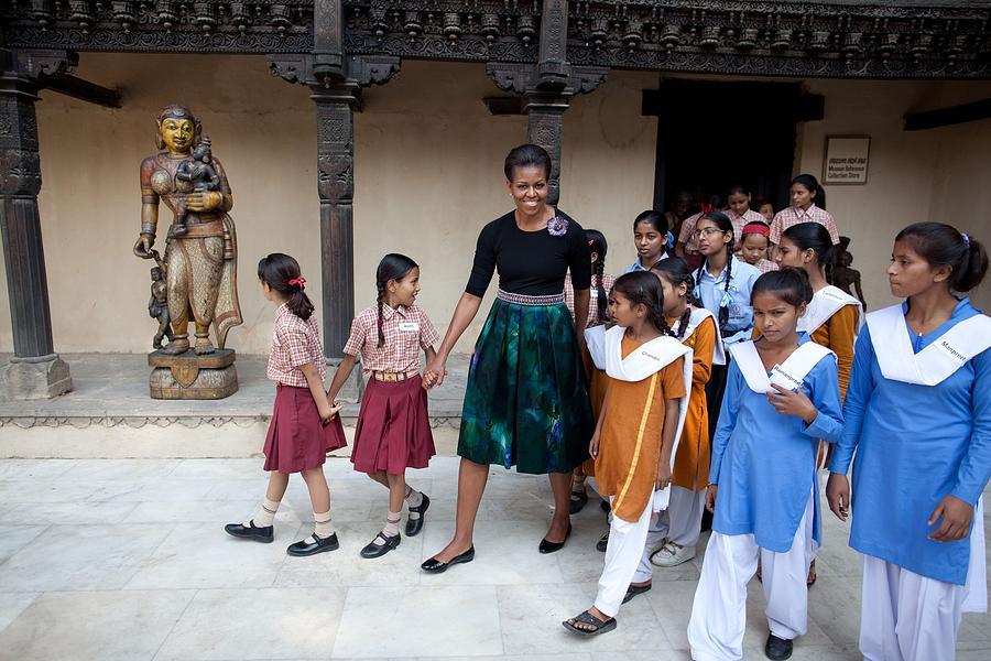 Michelle Obama Accompanied By Children Photograph