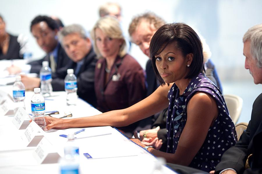 Michelle Obama Attends A Meeting Photograph  - Michelle Obama Attends A Meeting Fine Art Print