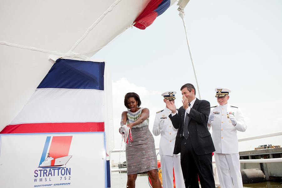 History Photograph - Michelle Obama Christens The Us Coast by Everett