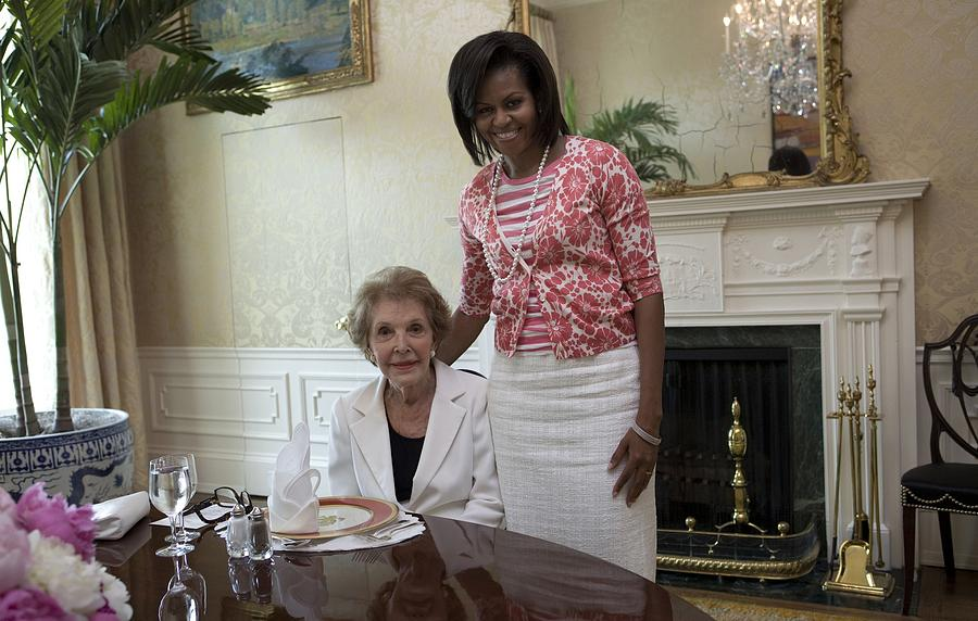 History Photograph - Michelle Obama Visits With Former First by Everett