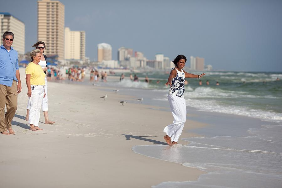 Michelle Obama Walks Barefoot Photograph