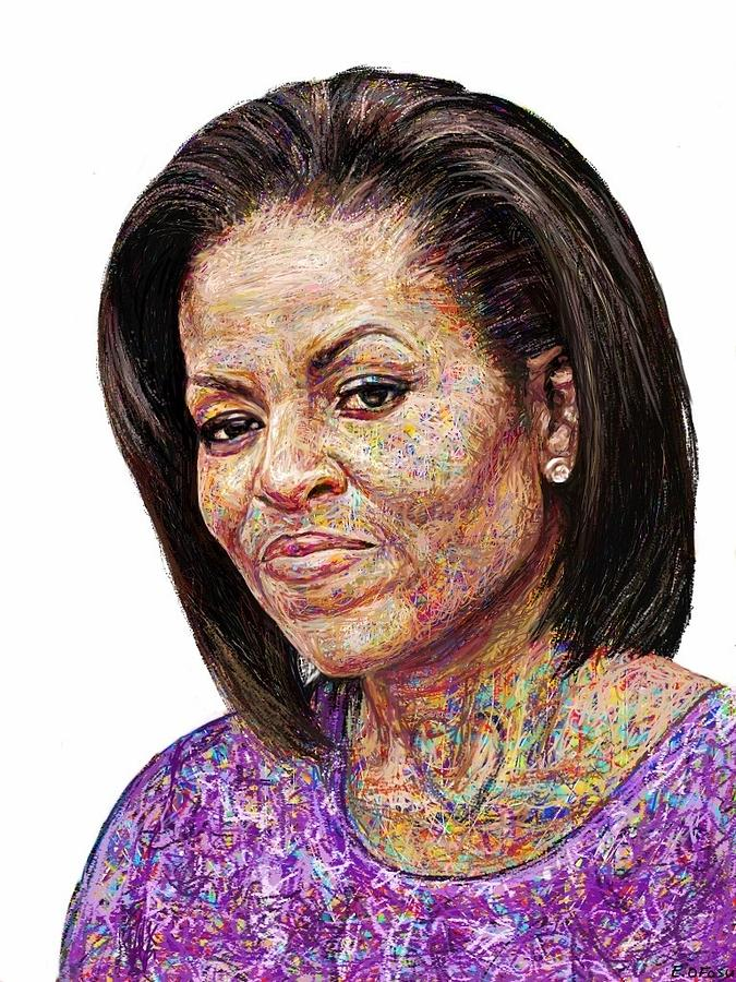 Michelle Obama With An Ipad Painting  - Michelle Obama With An Ipad Fine Art Print