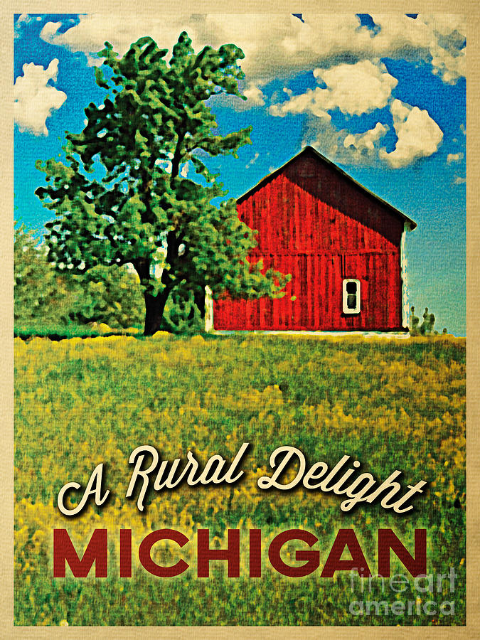 Michigan Country Red Barn Digital Art