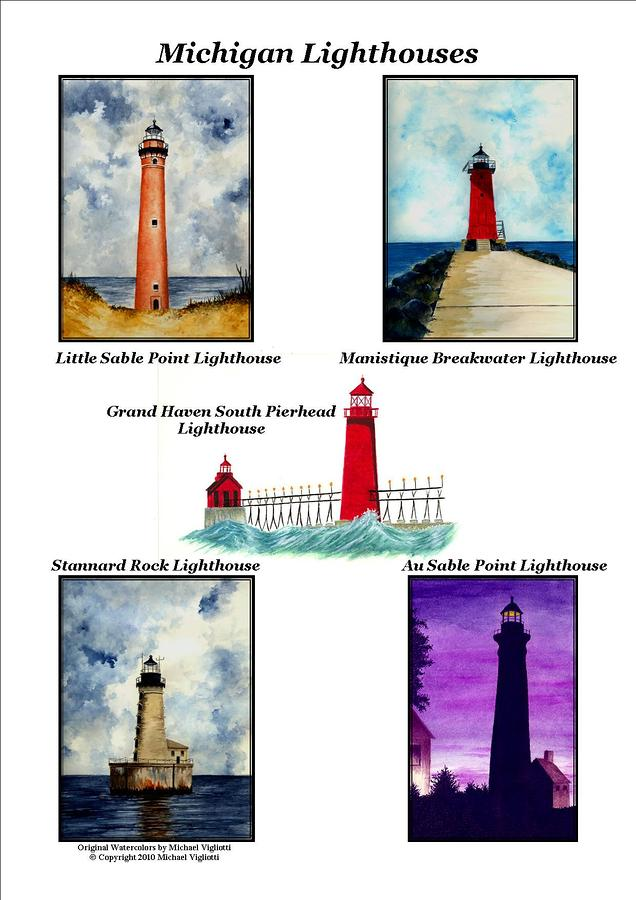 Michigan Lighthouses Collage Painting  - Michigan Lighthouses Collage Fine Art Print
