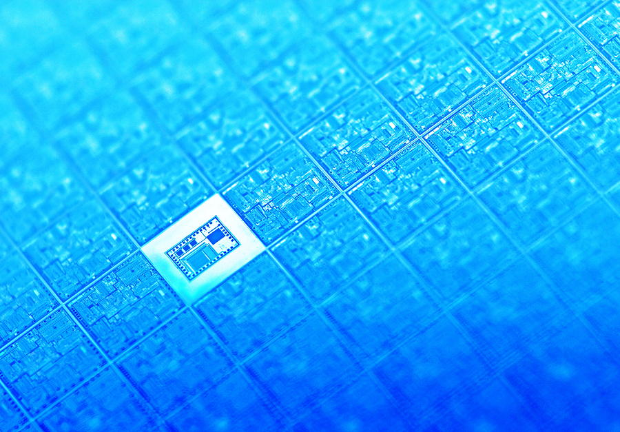 Microchip Wafer Photograph  - Microchip Wafer Fine Art Print