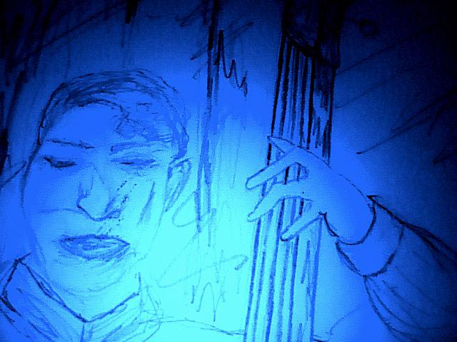 Midnight Blue Bass Player Drawing