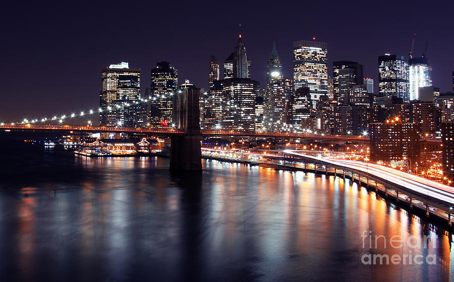 Midnight In The Shadow Of Brooklyn Bridge II- Brooklyn Bridge Photograph  - Midnight In The Shadow Of Brooklyn Bridge II- Brooklyn Bridge Fine Art Print