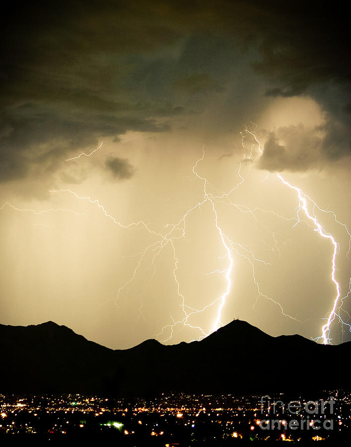 Midnight Lightning Storm Photograph  - Midnight Lightning Storm Fine Art Print