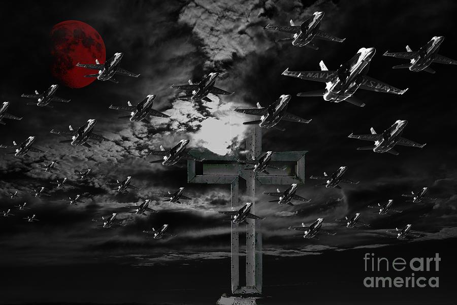 Midnight Raid Under The Red Moonlight Photograph
