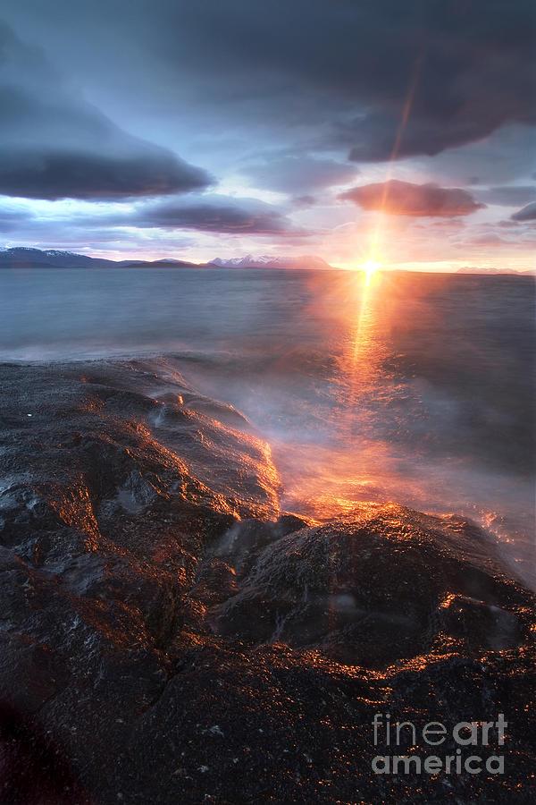 Bratteberget Photograph - Midnight Sun Over Vågsfjorden by Arild Heitmann