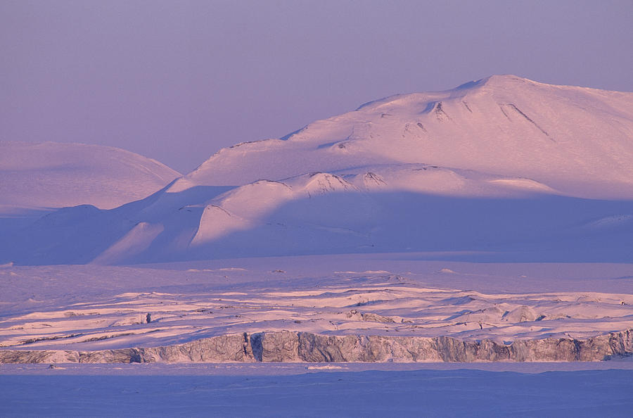 Midnight Sunlight On Polar Mountains Photograph