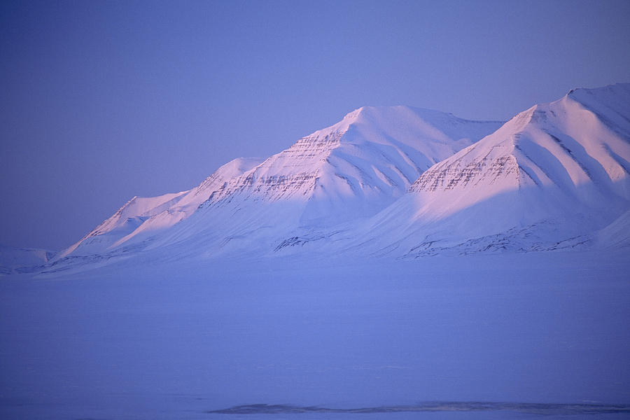 Midnight Sunset On Polar Mountains Photograph