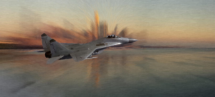 Mig 29 Approaching Fighter Plane Combat City Cityscape Fly Flying Sky Water Ocean Pastel - Mig 29 Approaching by Stefan Kuhn