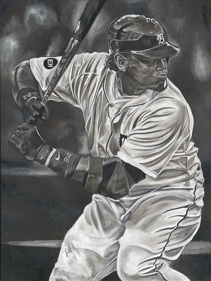Miguel Cabrera Detroit Tigers Baseball Sports Painting David Courson Painting - Miguel Cabrera by David Courson