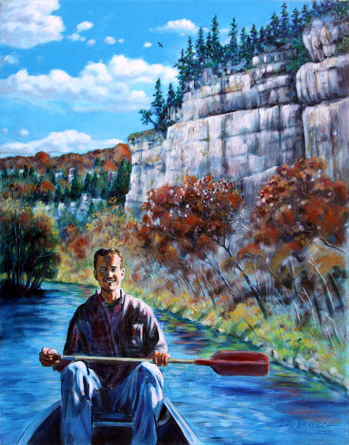 Mike On Float Trip Painting  - Mike On Float Trip Fine Art Print