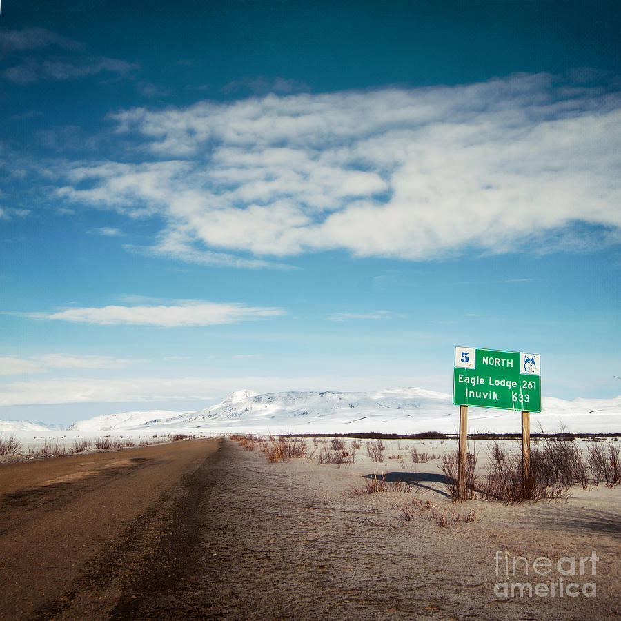 Milepost At The Dempster Highway Photograph  - Milepost At The Dempster Highway Fine Art Print