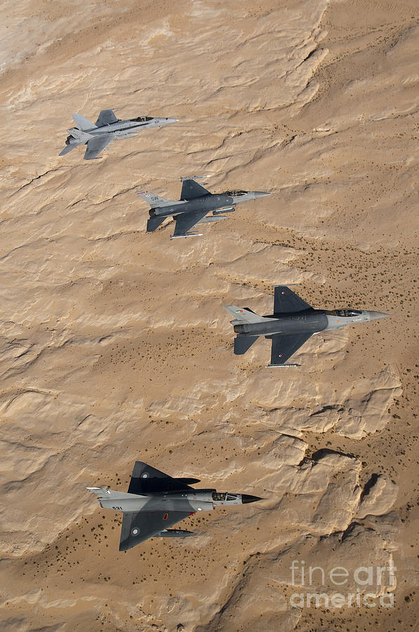 Jordan Photograph - Military Fighter Jets Fly In Formation by Stocktrek Images