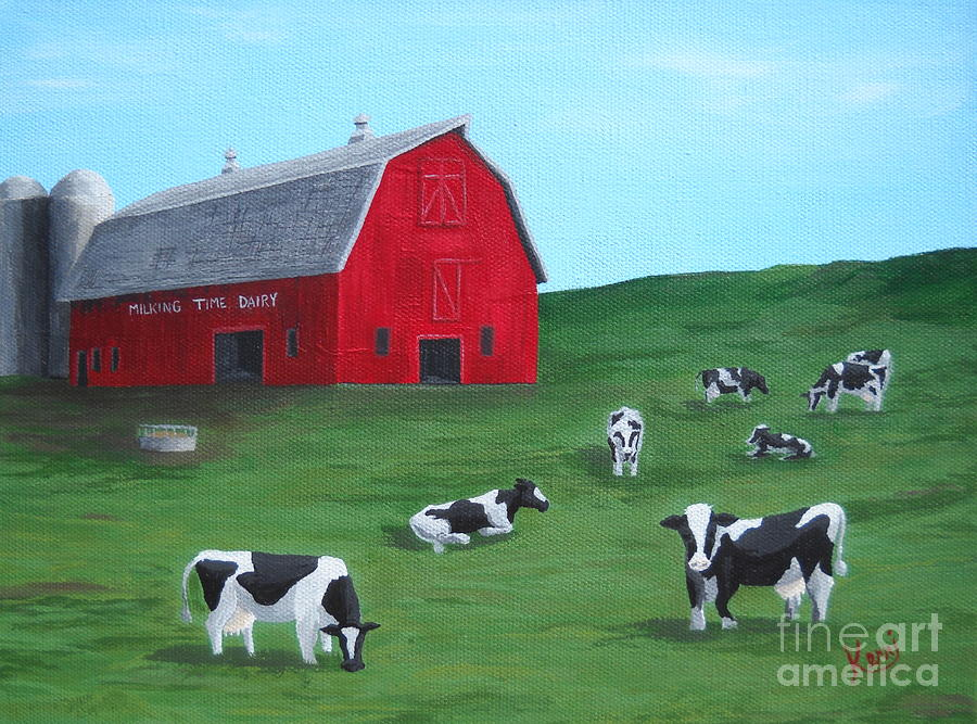 Milking Time Dairy Painting  - Milking Time Dairy Fine Art Print