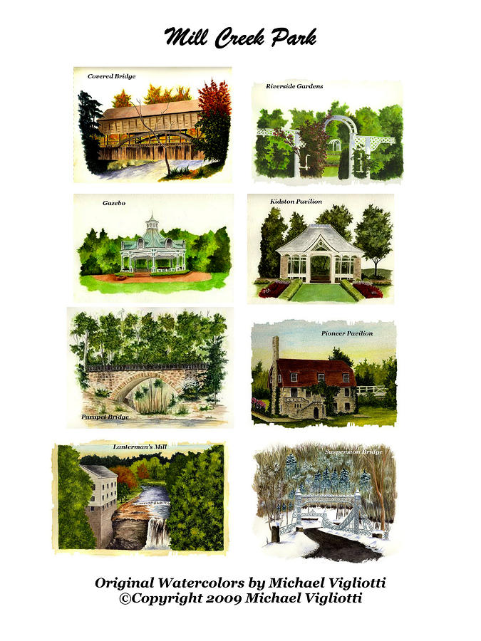Mill Creek Park Collage Painting