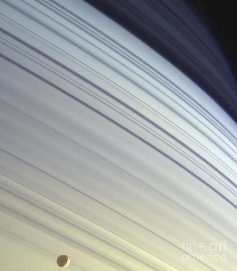 Color Image Photograph - Mimas Drifts Along In Its Orbit by Stocktrek Images