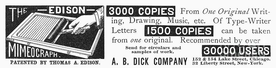 Mimeograph Ad, 1890 Photograph