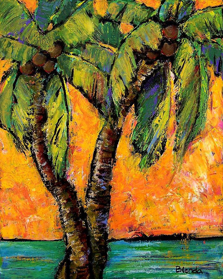 Mimosa Sky Palm Painting