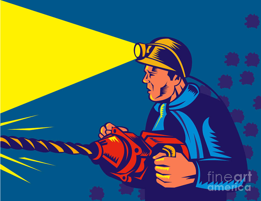 Miner With Jack Drill Digital Art  - Miner With Jack Drill Fine Art Print