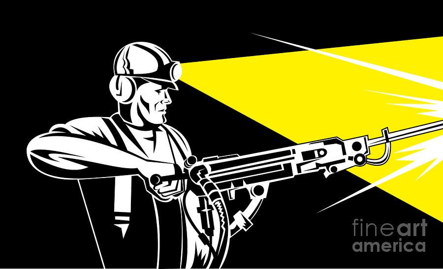 Miner With Jack Leg Drill Digital Art