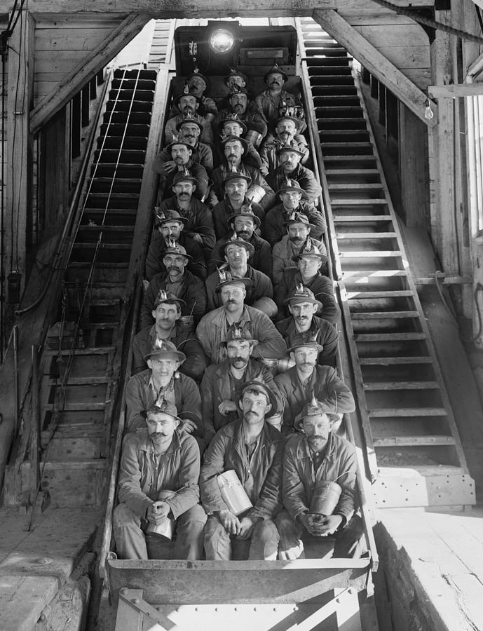 Miners In An Open Tram At The Calumet Photograph