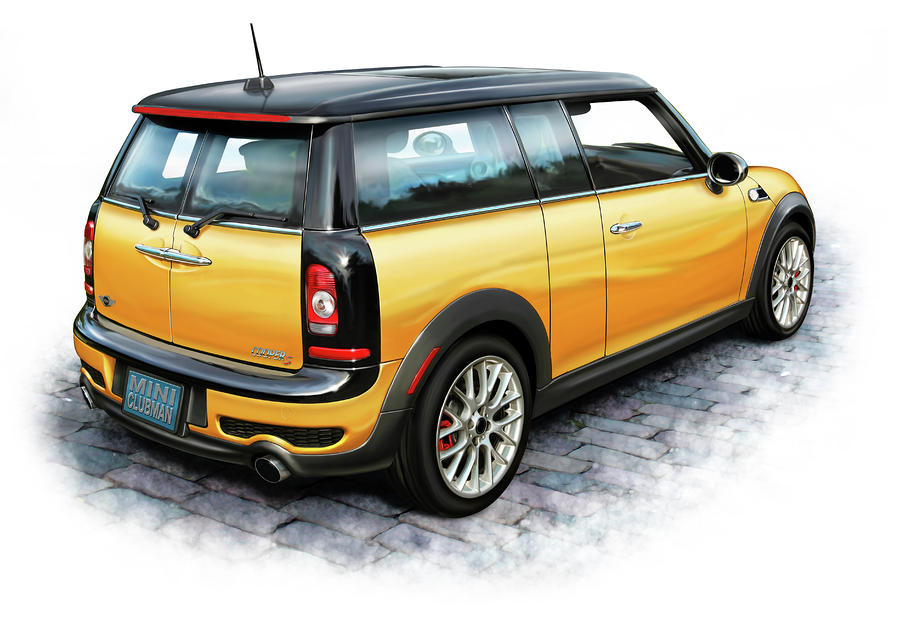 Mini Cooper Clubman Yellow Digital Art  - Mini Cooper Clubman Yellow Fine Art Print